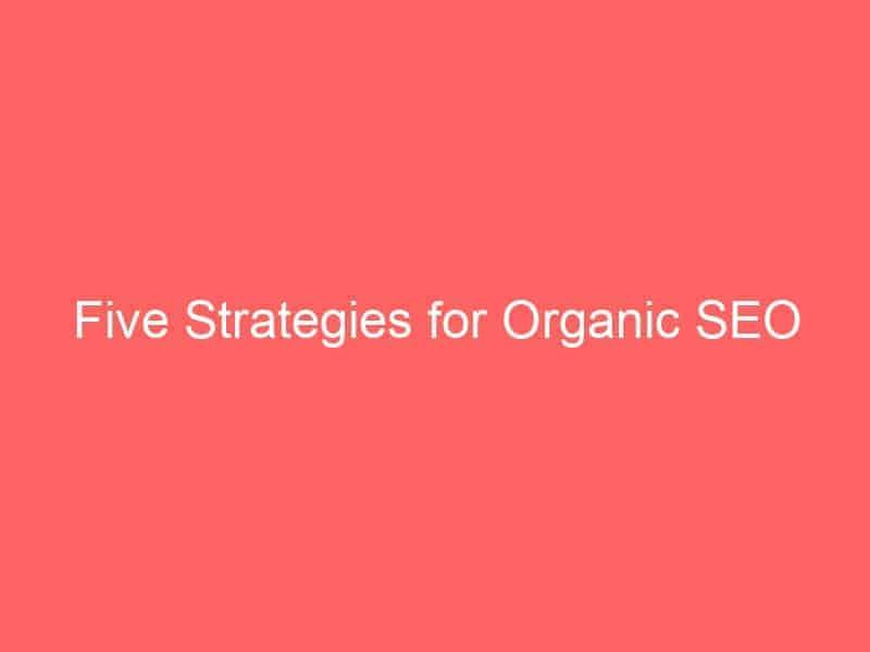 five strategies for organic seo 3065 seo sri lanka
